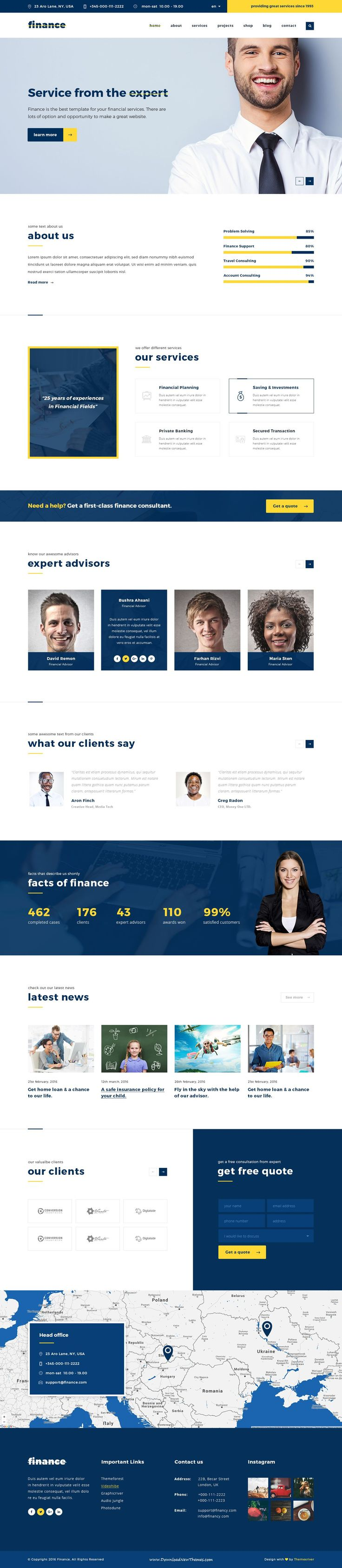 Finance is the Perfect Finance, Consulting & Business PSD Template. This is a business template that is help full for online presence for #Corporate #Business and #Financial Firms. #psdtemplate