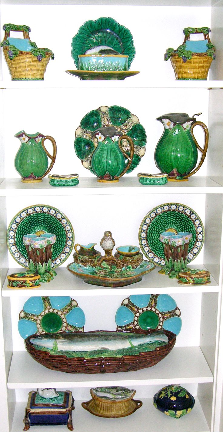 Mostly George Jones and Minton. Fielding Swan Sardine Box lower level. England.  Majolica International Society Image.