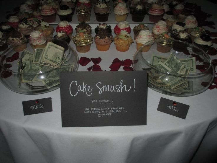 This is a GREAT idea instead of the dollar dance at a wedding! Whoever gets the most in the jar gets it in the face.