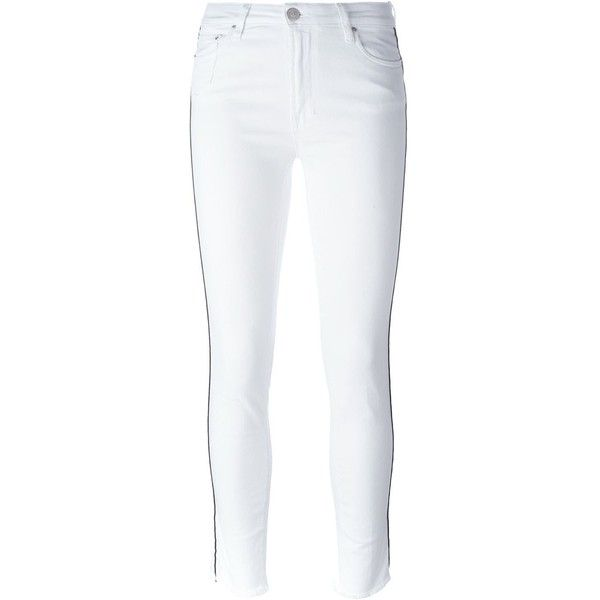 Don't Cry Summer High Rise Jeans (£115) ❤ liked on Polyvore featuring jeans, white, high rise jeans, high rise white jeans, high waisted jeans, white jeans and white high waisted jeans