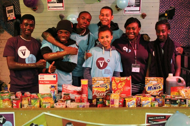 Me and my helpful volunteers and all the food we managed to collect!