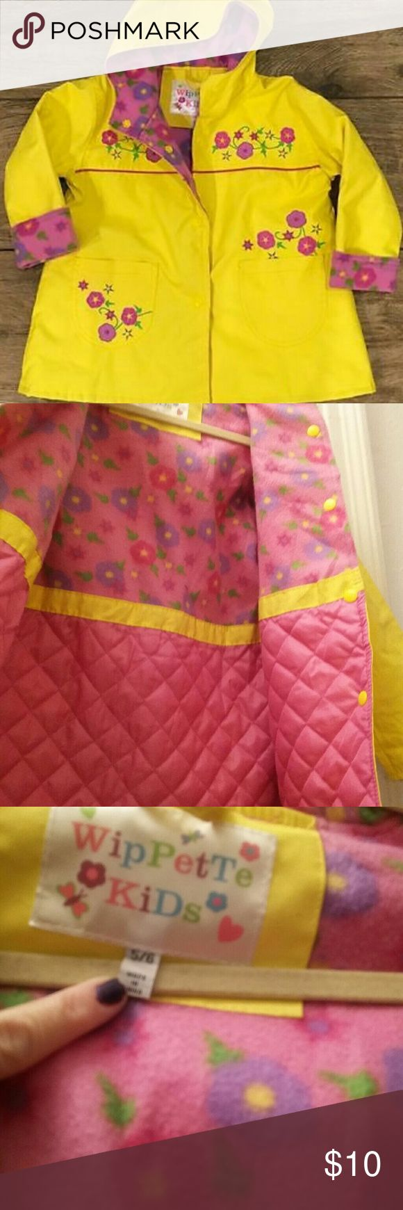 Girls yellow floral lined Raincoat Perfect raincoat for chilly weather.  Nicely lined. So cute and very well made! Has few minor imperfections (which is why im pricing this low, but its a steal for this quality slicker ) that are not too noticeable when worn. wippette Kids Jackets & Coats Raincoats