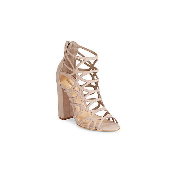 Schutz Leather Block Heel Sandals ($100) ❤ liked on Polyvore featuring shoes, sandals, neutral, open toe sandals, schutz sandals, colorblock sandals, cut out sandals and open toe heel sandals