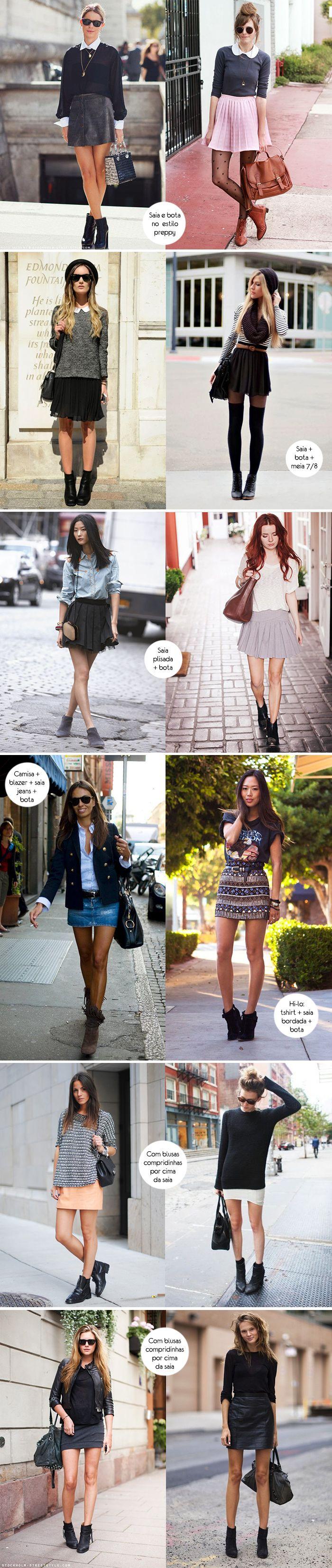 Look para inspirar, inspiração, outfit, como usar, saia, skirt, bota de cano curto, boots