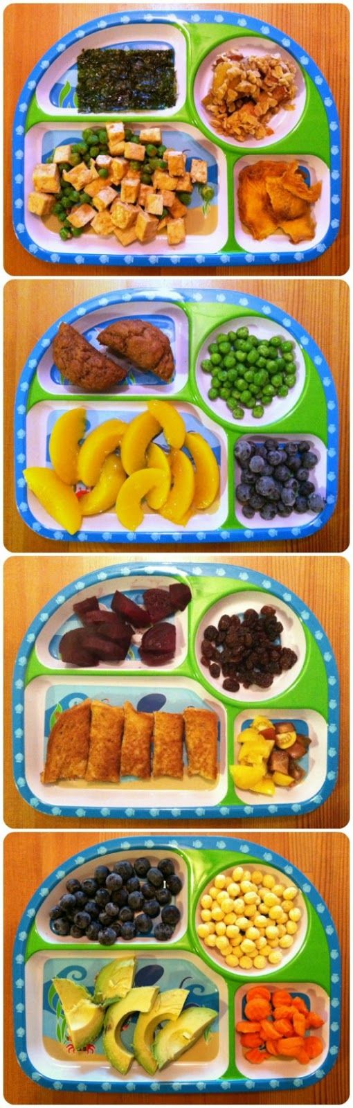 "Vegan Mother Hubbard: Toddler Meals, not that we're vegan...but the plates appear to follow the ""feed your kid a rainbow"" rule"