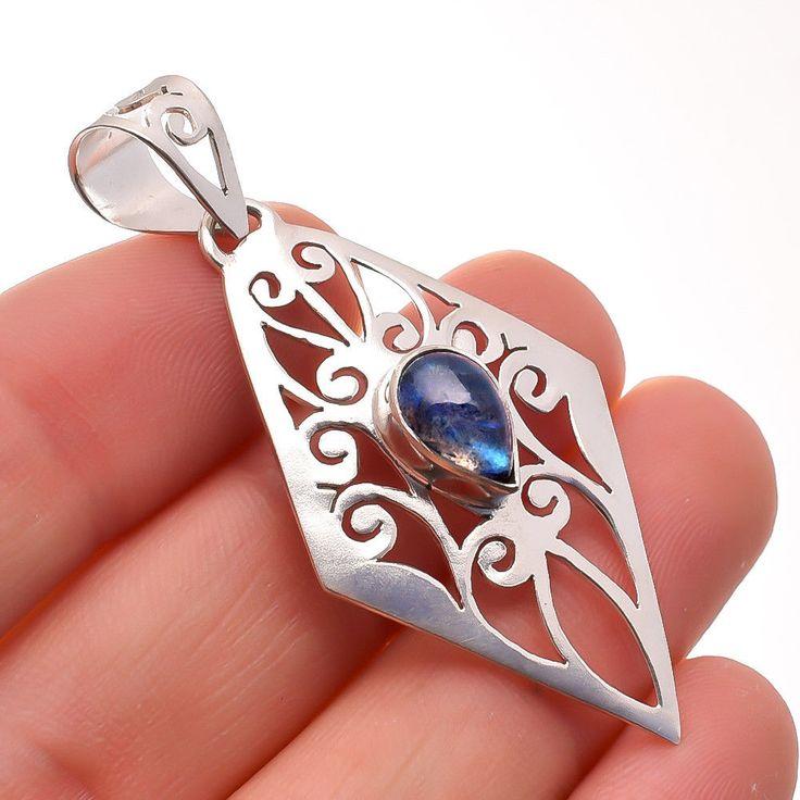 "Labradorite Gemstone Jewelry 925 Sterling Silver Filigree Pendant 2"" #Handmade #Pendant #Birthday"