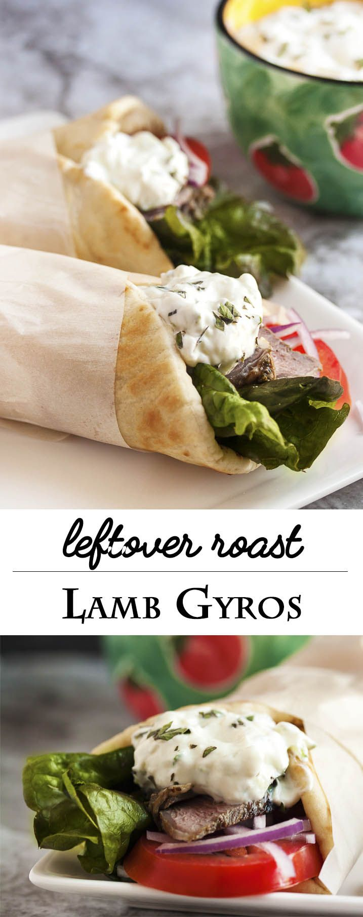 Leftover Lamb Gyros with Tzatziki Sauce - What to do with leftover lamb roast? Make these incredibly yummy lamb gyros and top them with a 5 minute tzatziki sauce. | justalittlebitofbacon.com