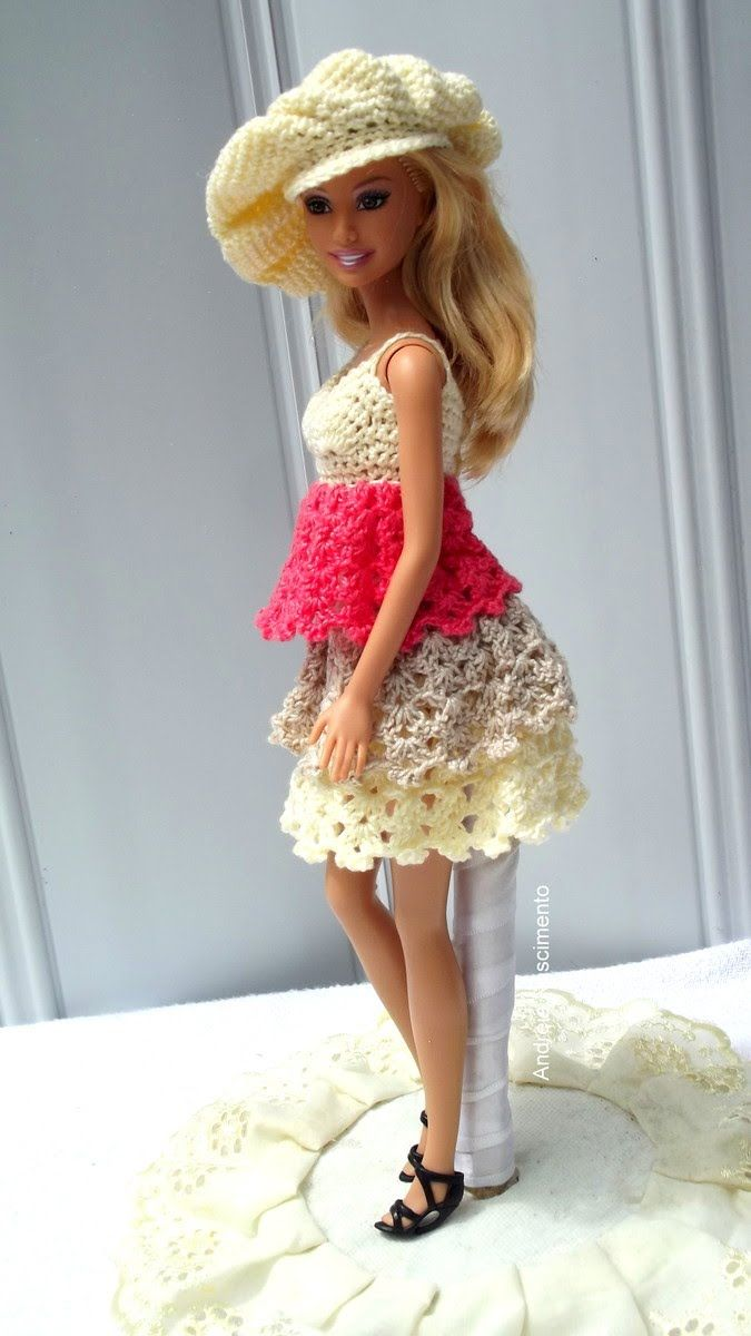 DIY Vestido de crochê com babado para boneca Barbie + arremate