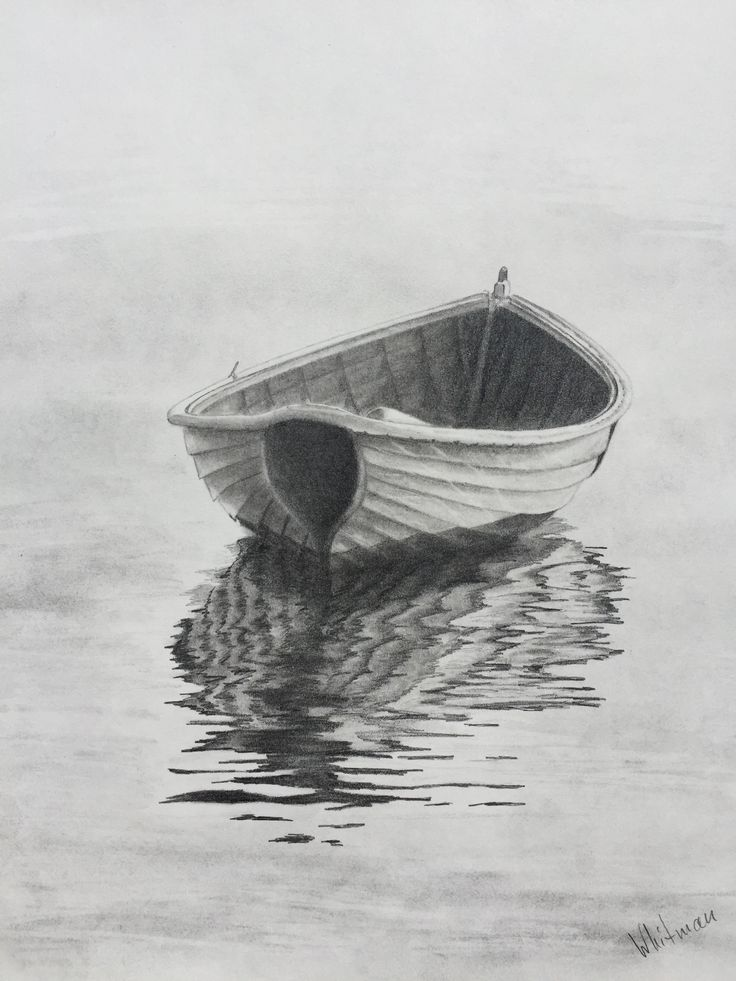 $90 Row boat reflections. Original art, graphite pencil drawing by Elena Whitman.