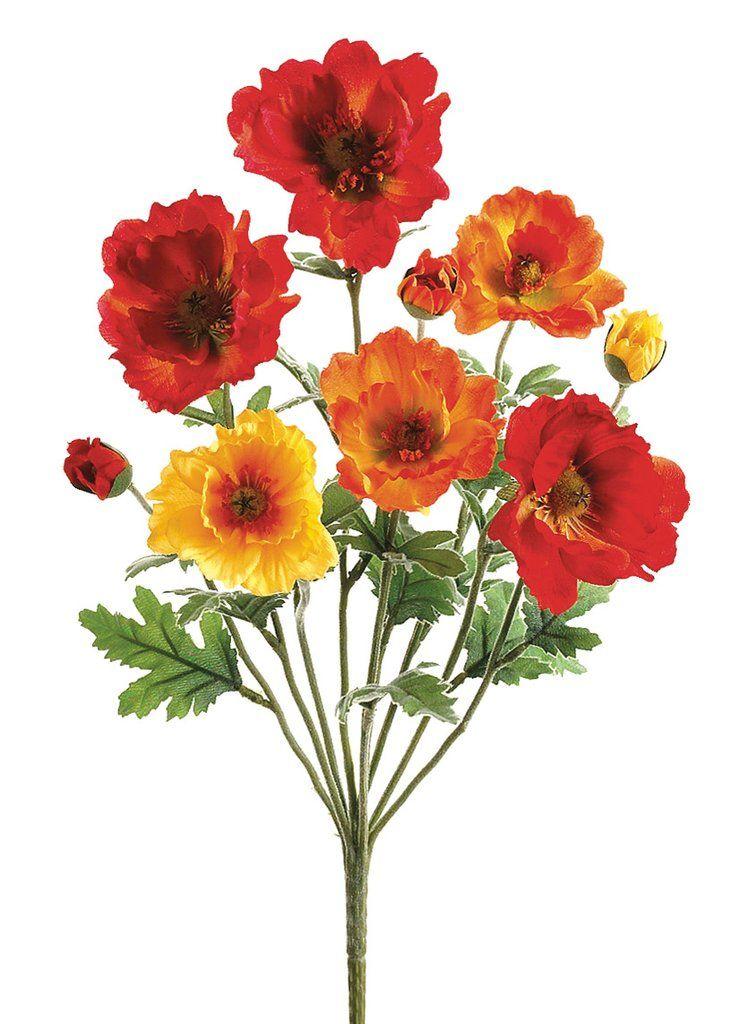 Small Poppy Silk Flower Bush In Orange Flame 18 Tall X 3 Blooms