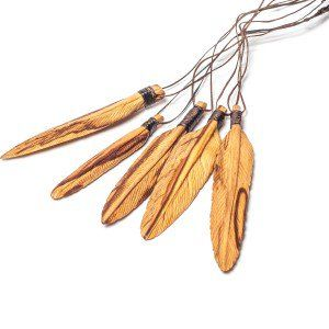 Palo Santo Wood Feather Necklace
