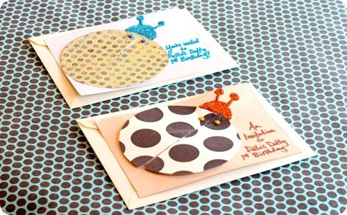 Adorable, easy DIY ladybug invite idea.