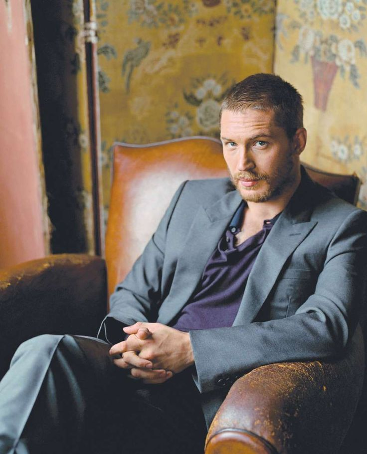 Tom Hardy in Flat Front Charcoal Tuxedo