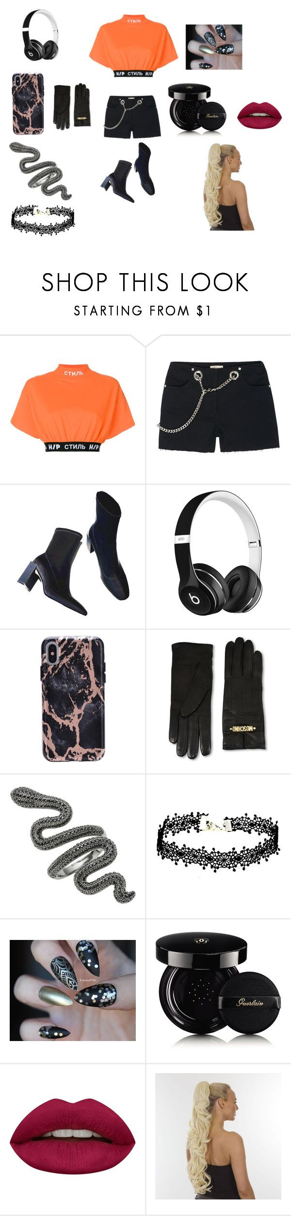 """""""gang leader look"""" by angelmvai on Polyvore featuring Heron Preston, Miaou, Beats by Dr. Dre, Moschino, Guerlain and Huda Beauty"""