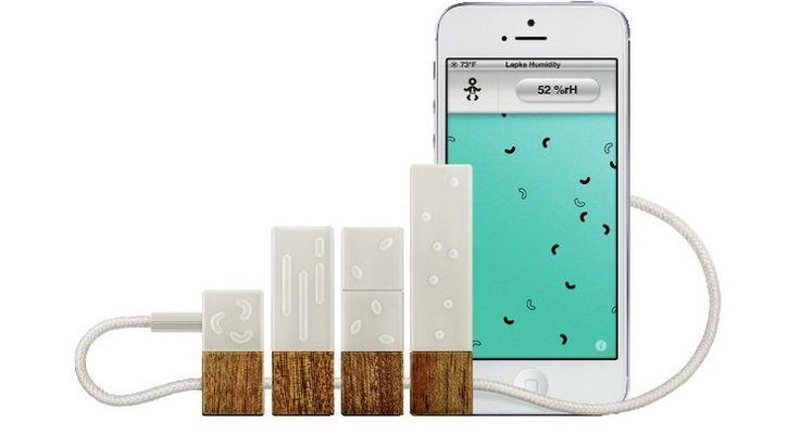 Die Sensoren des US-Startups Lapka messen unter anderem elektromagnetische und radioaktive Strahlung, Luftfeuchte und Nitrate, etwa im Gemüse, und überträgt die Daten zum Handy. Foto: Lapka