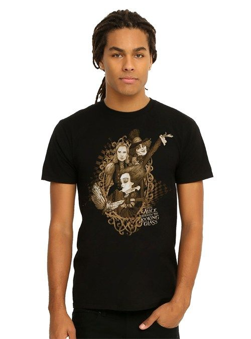 Male Model Wearing an Alice Through the Looking Glass Movie T-Shirt