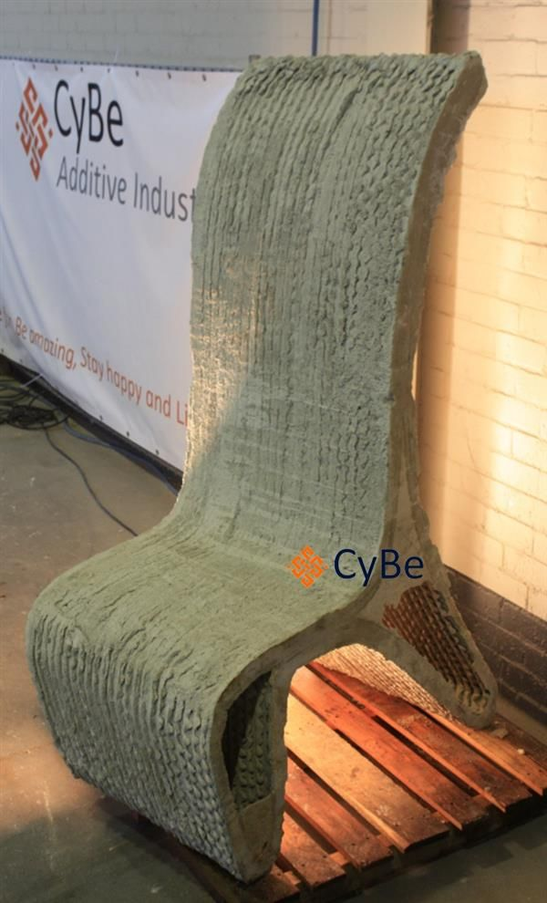 3ders.org - Dutch CyBe robot 3D prints ConCrete chairs & s-shaped wall, FreeForm Pavilion to be ready by summer | 3D Printer News & 3D Printing News