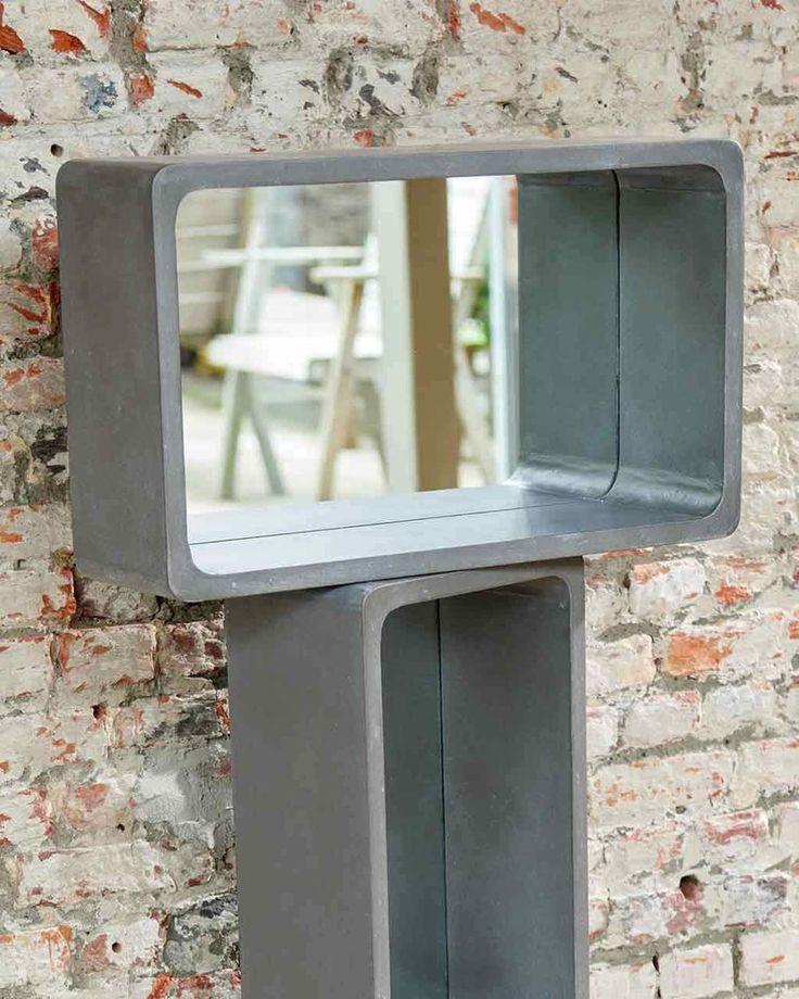 Atrium - Shelf Wall Mirror H:53cm, Concrete-effect, Medium | MirrorDeco