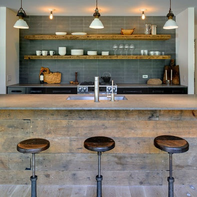 rustic wood shelves on subway tile for back wall of kitchen...basment/rec rm/game rm/media rm