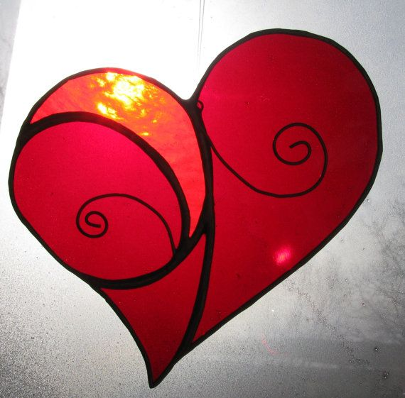 awesome - Red Heart Suncatcher by StainedGlassByBev on Etsy, $18.00