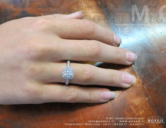Gorgeous Cushion Cut Diamond Ring Set Solid Gold Rings