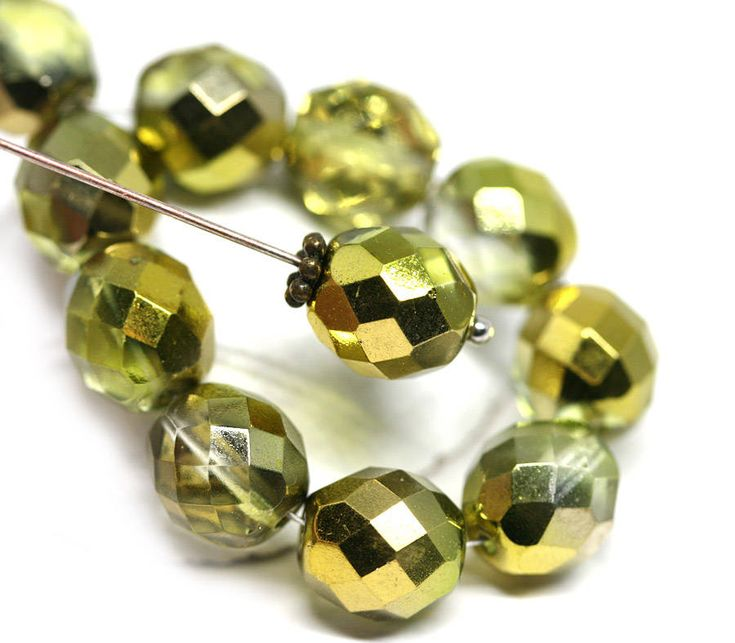 10mm Golden round beads Gold czech glass beads Golden coated fire polished beads - 10pc - 1549 by MayaHoney on Etsy