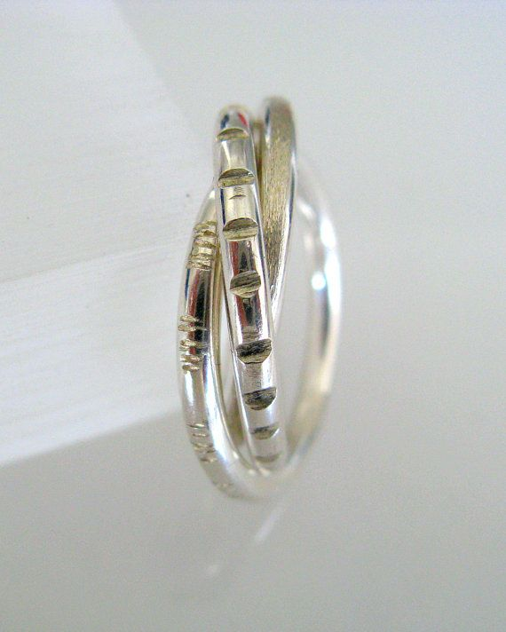 Silver Russian Wedding Ring Trinity Ring by mezzestudios on Etsy