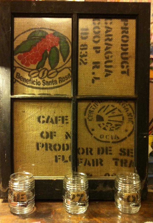 69 best indoor decor images on pinterest coffee sacks for Burlap bag craft ideas