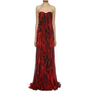 ALEXANDER MCQUEEN, Long Dress, Petal Chiffon Draped Bustier Gown