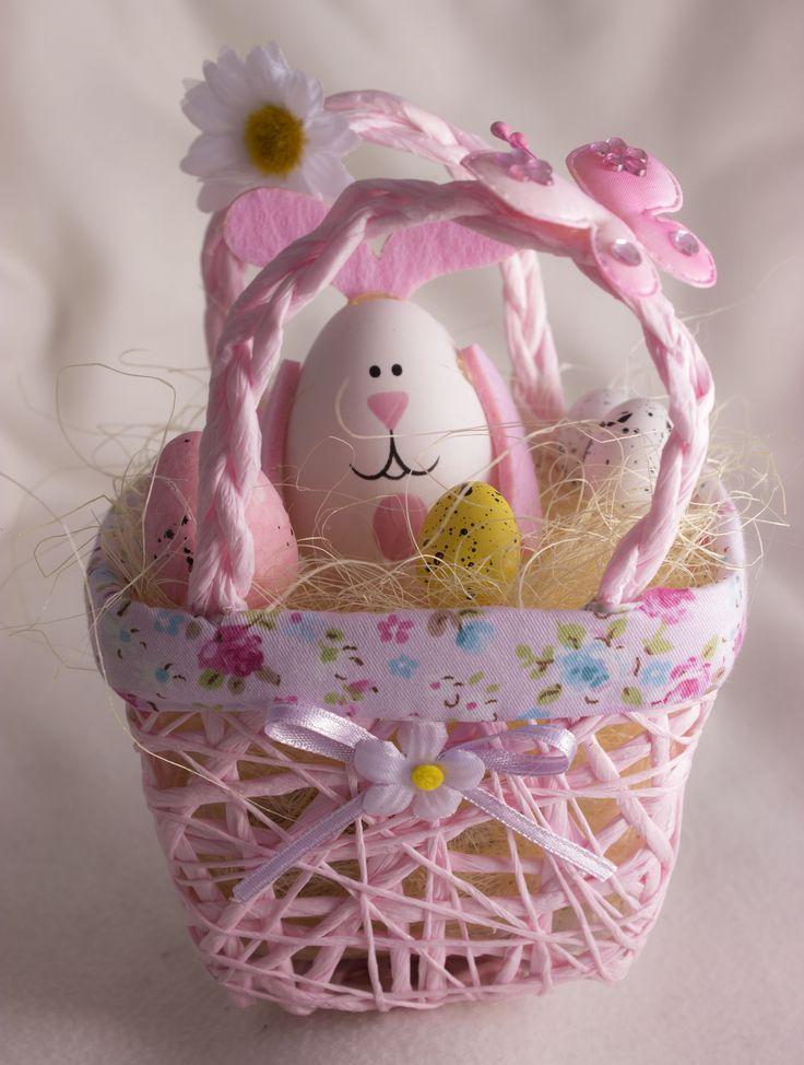 Húsvéti füles kiskosár (rózsaszín)