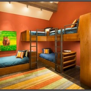 L Shaped Quad Bunk Beds Pull Out Sofa Bed With Storage