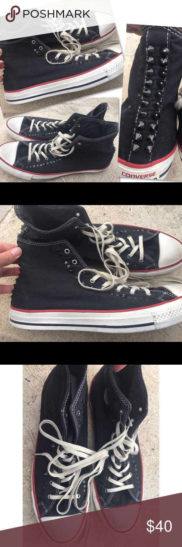 CONVERSE ALL STAR STUDDED BLACK HIGH TOP SNEAKERS CONVERSE ALL STAR  STUDDED BLACK HIGH TOP SNEAKERS SZ 11 RETAILS $80 Converse Shoes Sneakers