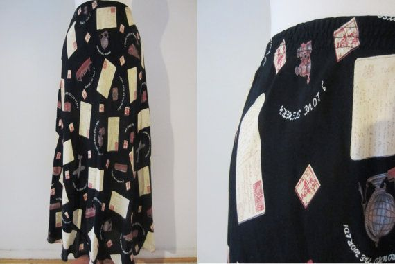 90s Black Travel Print Maxi Skirt by Laureate, S-M / W26 W28 w30 // Vintage Postcard Summer Rayon Skirt