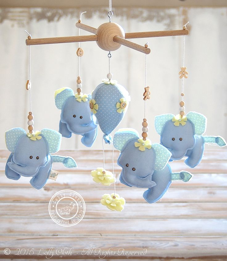 Elephant Baby Mobile for Baby Boy, FREE UPGRADE to 2-DAY WORLDWIDE DELIVERY Service by FedEx