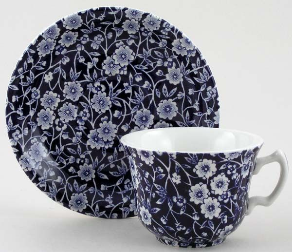 Burleigh Dark Blue Calico Teacup and Saucer 9cm & 14.5cm diameter x1
