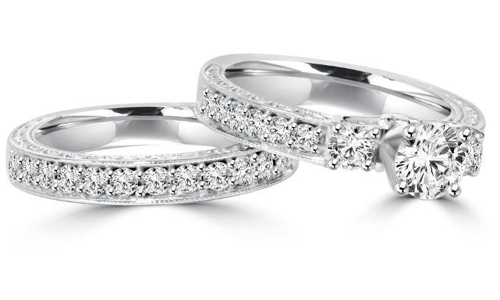1.50 CTTW Vintage Diamond Engagement Ring Set from Bliss Diamond | Groupon