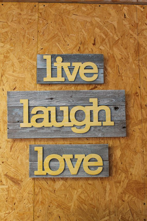 Recycled Wood LIVE LAUGH LOVE Wall Decor   Wall Sign   3 Piece Wall Art