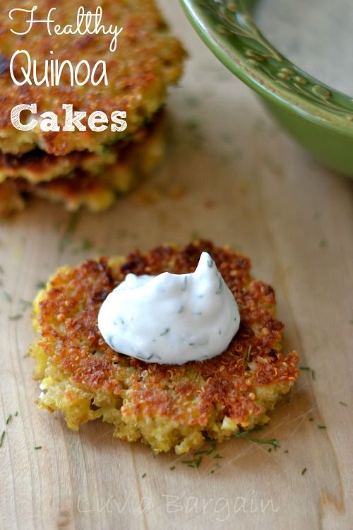 These Healthy Quinoa Cakes are a great side dish or as a light lunch with a piece of fruit  Make the optional Yogurt Dill sauce to kick it up even more