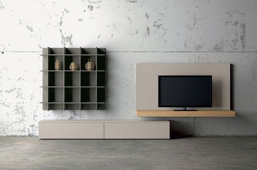 Parete attrezzata porta TV moderna laccata in legno SLIM Dall'Agnese Industria Mobili