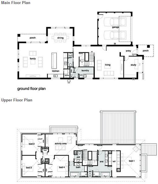 Fav plano de casa moderna con 4 dormitorios garaje y 3 for Banos de casas modernas