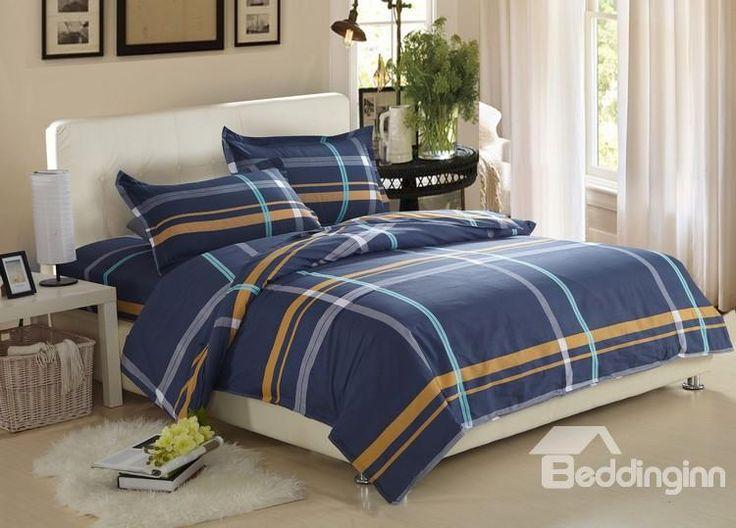 @bedding inn $ 50.29 Gentle Stripe Print Dark Blue 100% Cotton 4 Piece Discount Bedding sets With Fitted Sheet www.beddinginn.com