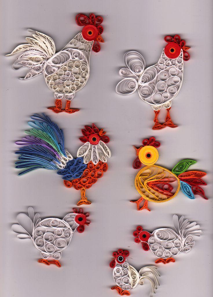 Quilling Hühner verschieden