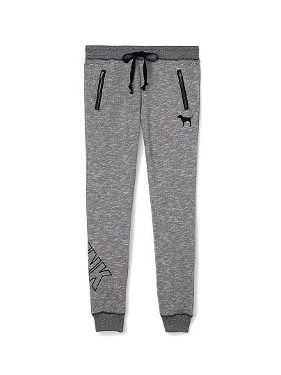 VS PINK Collegiate Pant(black/grey logo leg)-our edgiest sweats yet,slimmed down just right.Rock it scrunched or wear it long.