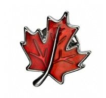 Maple Leaf Pin. These high quality rhodium plated pin has enamel on top covered with clear protective layer on it. Size: 17 x 20 mm (11/16 x 13/16 inch). http://www.stunningselection.com/maple-leaf-pin