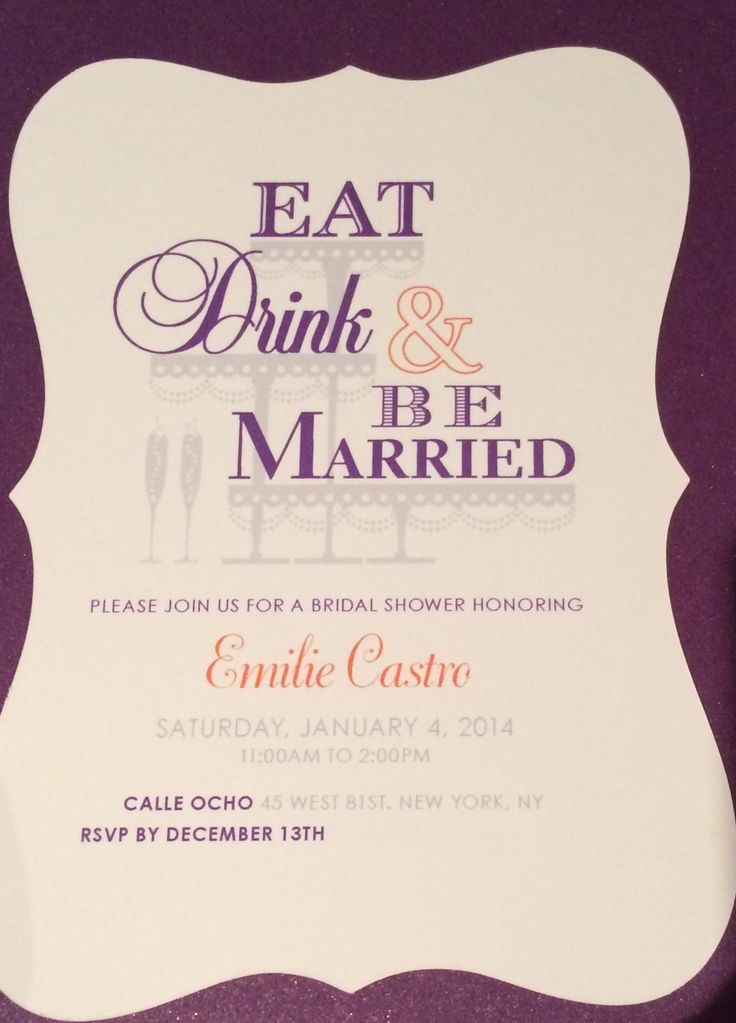 bridal shower invitations vector free%0A Eat  Drink  u     Be Married Shower Invite    Bridal Showers
