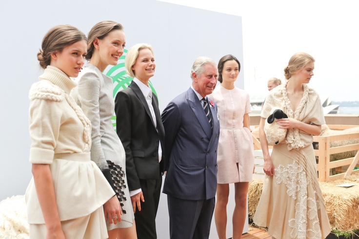 HRH The Prince of Wales – patron for the Campaign for Wool – is pictured here with models wearing some of Australia's top designers wool creations (left to right) E L L E R Y, DION LEE, Josh Goot, camillaandmarc and AKIRA.     The Campaign for Wool Showcase was held in Sydney hosted by The Woolmark Company and Australian Wool Innovation at the Museum of Contemporary Art Australia.