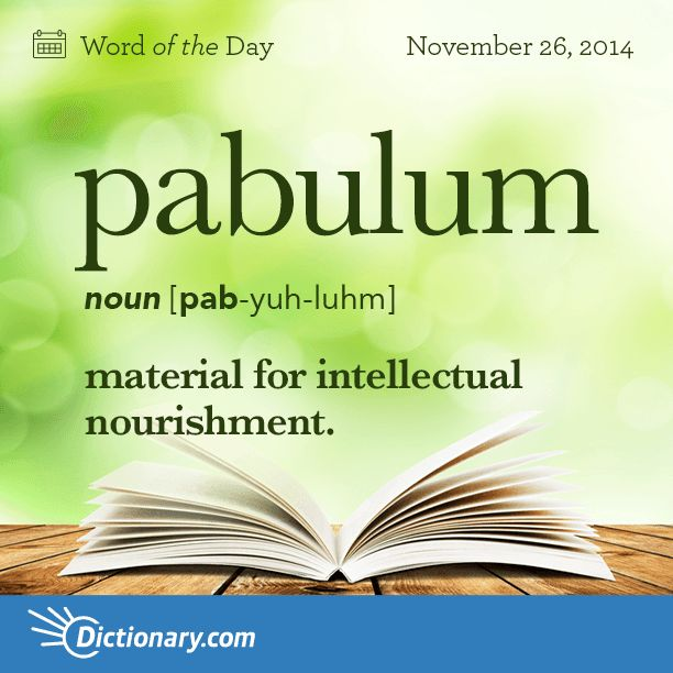 pabulum   \ PAB-yuh-luhm \  , noun;     1. material for intellectual nourishment. 2. something that nourishes an animal or vegetable organism; food; nutriment. 3. pablum.