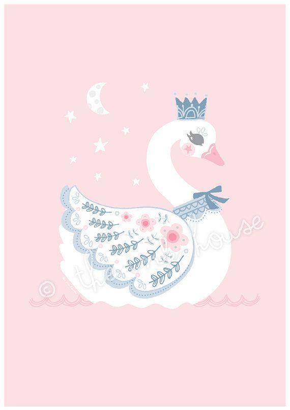 SWAN LARGE PRINT A3 Swan Illustration Swan wall art swam
