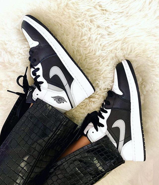 Air Jordan 1 Mid White Shadow Women Shoes Sneakers Jordans Men ...