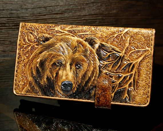 iPhone 6 leather wallet  hand-tooled  IPhone 6 by PFLeatherGlass